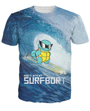 Customized Cartoon Pokemon go t shirts Squirtle Funny 3D t shirt Men Women Summer tees Zenigame tee shirts tops AMY281