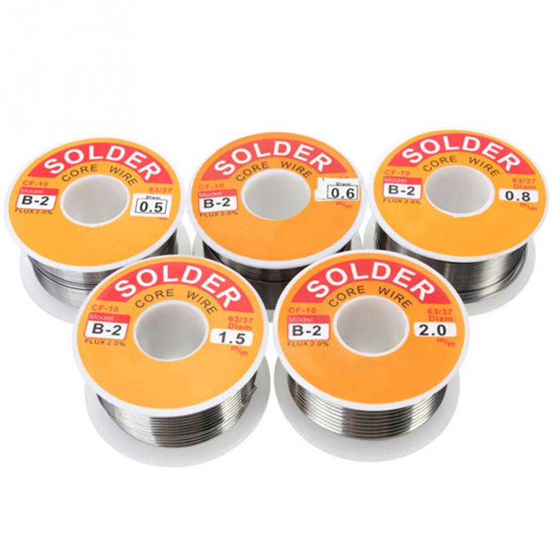 100g 0.5/0.6/0.8/1/1.2mm 63/37 FLUX 2.0% 45FT Tin Lead Tin Wire Melt Rosin Core Solder Soldering Wire Roll No-clean