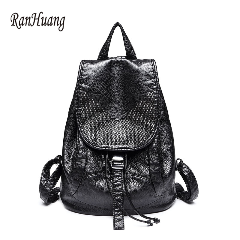 ФОТО RanHuang High Quality Women PU Leather Backpacks Fashion Ladies backpack 2017 Designer Bags Softback Travel Solid bag A302