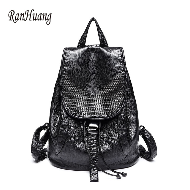 90267635229 US $31.36 20% OFF|RanHuang High Quality Women PU Leather Backpacks Fashion  Ladies backpack 2017 Designer Bags Softback Travel Solid bag A302-in ...