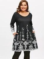 Gamiss 2018 Women Casual Dresses Plus Size 5XL Arab Print Long Sleeve Tunic  Fashion Ladies Dress 9963fb929a66