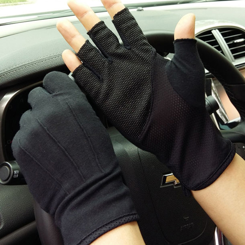New Men's Summer Outdoor Sports Fitness Cycling Sunscreen Short Sun Gloves Thin Cotton Fashion Half Finger Driving Gloves L21