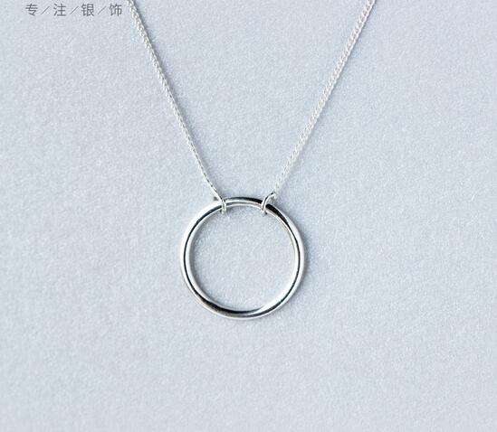 Real. Solid 925 Sterling Silver High Polished Circle of Life Pendant Necklace Chain 18inch Sterling-Silver-Jewelry GTLX1015