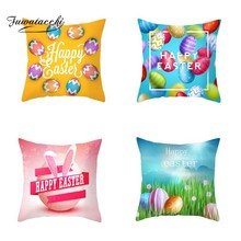45*45cm 2019 Square Rabbit Happy Easter Decorations For Home Pillows Bunny Eggs Pillow Cases Cushion Cover Easter Home Car Decor