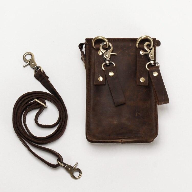 Dəli At Dəri Çoxfunksiyalı Təsadüfi Gündəlik Moda Kiçik - Bel çantası - Fotoqrafiya 6