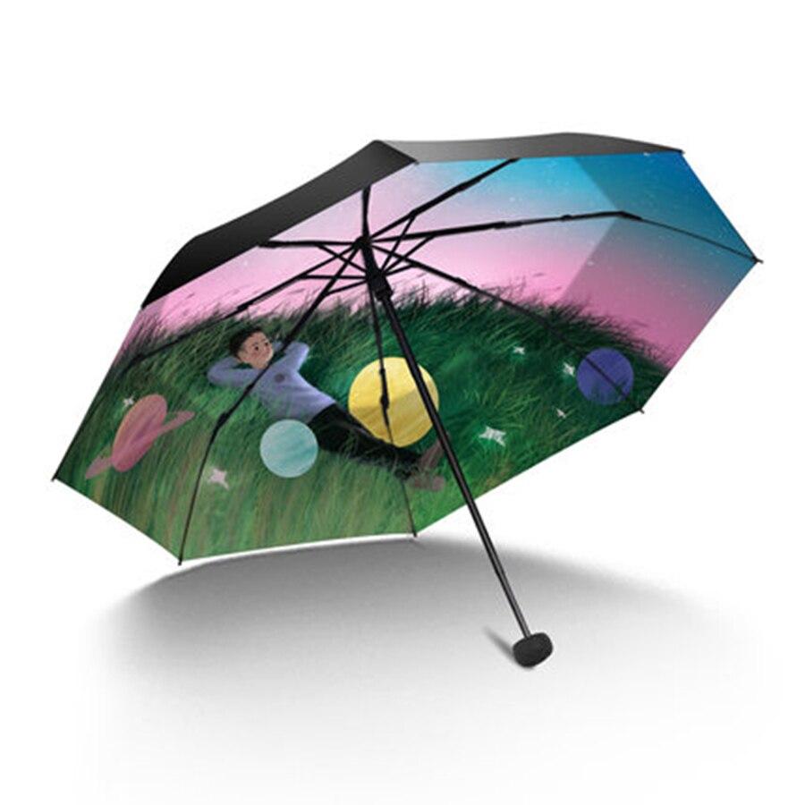 Parapluie de pluie pliant soleil femmes UV fille changement de couleur nouveauté articles parapluies magiques mâle enfants peinture Parasol cadeaux 40S188