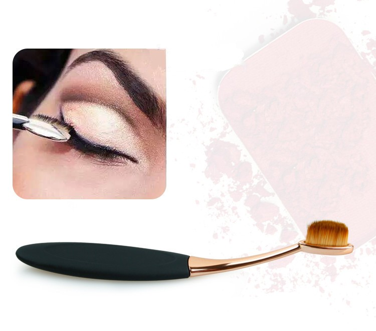 Toothbrush NEW Oval Shape Powder Foundation Makeup Brush Brushes Make up Eyebrow Beauty Tools Black Gold 10PCSset (9)
