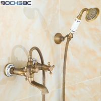 BOCHSBC Retro Bathroom Shower Set European Style Telephone Shape Copper Shower Head Ceramic Hand Held Antique Shower Set