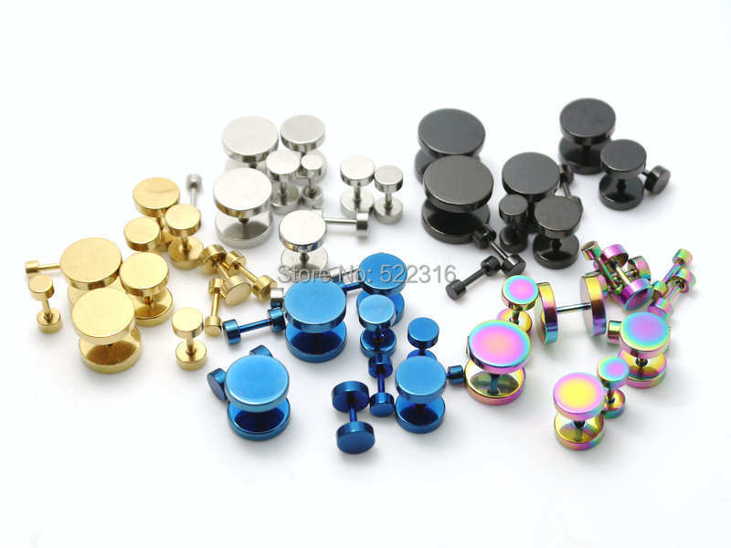 200pcs mix color size lots stainless steel round fake ear plugs steel black gold blue rainbow