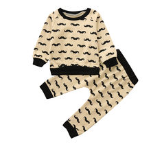 Two-piece Kids Boy Clothing Set Toddler Baby Boy Girl Beard Tops T-shirt Pullover Sweatshirt+Pants Clothes Set Children Suit(China)