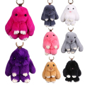 Lovely Rabbit Fur Rabbit Keychain Charm Pendant Keychains Fashion Jewelry Toy Doll Hanging Pendant Accessories 18cm