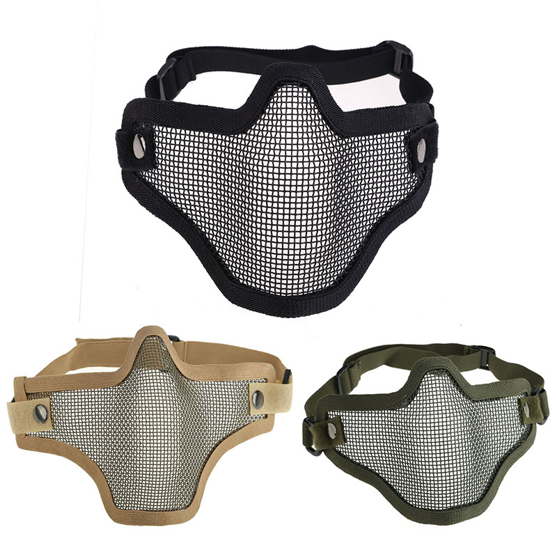 labor protection Outdoor Safety Protection Fasce Mask Tactical Hunting Metal Half Face Mask Mesh Airsoft Paintball Protective FC цена