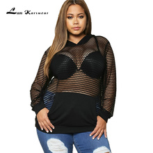 Lan Karswear Long Sleeve Fishnet Mesh Crop Sweatshirt Women Plus Size Tops Sexy Loose Cropped Sweatsuits Female Hoodies