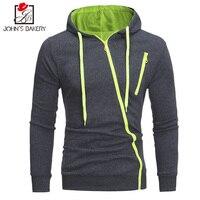 John S Bakery Brand 2017 Hoodie Oblique Zipper Solid Color Hoodies Men Fashion Tracksuit Sweatshirt Men