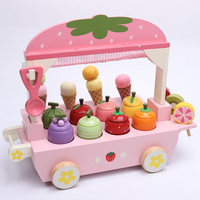 New 1 Set Wooden Toy Pretend Play Toy Simulation Magnetic Ice Cream Colourful Kitchen Food Baby Infant Toy Food Birthday GiftD29