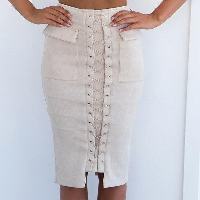 Sexy mujer Split sólido gamuza ropa de trabajo bolsa cadera lápiz minifalda cruzada cintura alta paquete cadera cintura media longitud falda