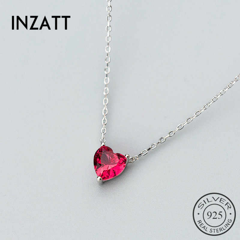 INZATT Real 925 Sterling Silver Cute Red Crystal Heart Choker Necklace Personality Fine Jewelry For Women Wedding Accessories