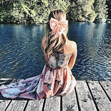 FREE SHIPPING 2018 Summer Sexy Boat Neck Strapless Dress Printed JKP989
