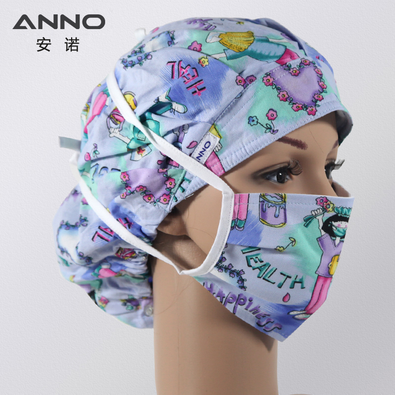 ANNO Cotton Disposable Surgical Caps Cartoon Hospital Hat Women Medical Cap White Nurse Hats Head Medical Face Mask