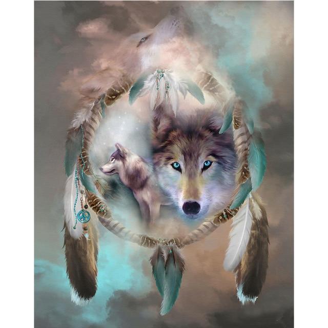 Costura Diy diamante pintura Cruz puntada artesanías pluma Lobo ...