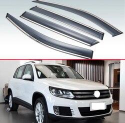 Für VW Tiguan 2009 2010 2011 2012 2013 2014 2015 2016 Kunststoff Außen Visor Vent Shades Fenster Sonne Regen Schutz deflektor