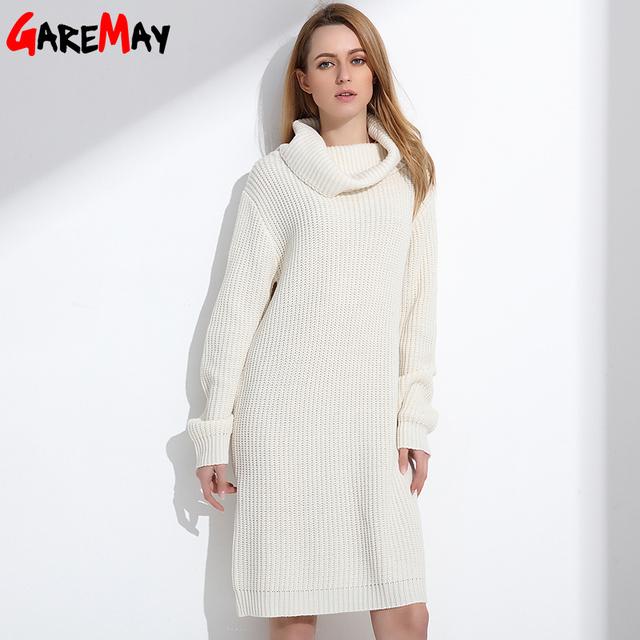 Mulheres Jovens Senhoras Da Forma Longa Camisola de Gola Alta Outono Inverno Retro Grosso Pulôver Camisola da Malha Para As Mulheres Malhas GAREMAY