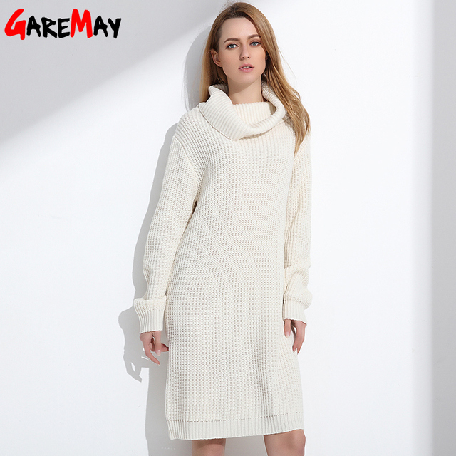 Women Long Sweater Turtleneck Young Ladies Fashion Autumn Winter Retro Pullover Thick Knit Sweater For Women Knitwear GAREMAY