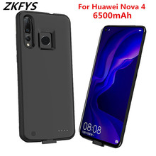 ZKFYS Ultra Thin Fast Charger Battery Cover For Huawei Nova 4 Charging Box Back Clip Case Large Capacity 6500mAh