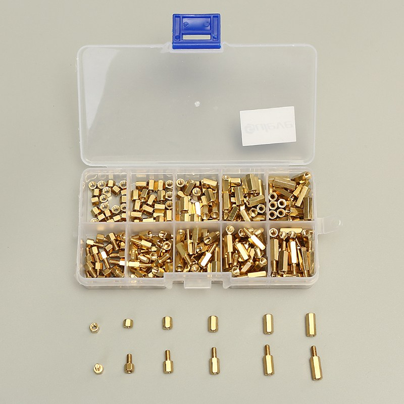 300pcs/set M3BH1 M3 4-12mm Male-Female Brass Hex Column Standoff Support Spacer Pillar Screw Nut Assortment For PCB Board 10pcs m3 35mm textured aluminum alloy pillar standoff spacer column for qav250 zm250 fpv quadcopter