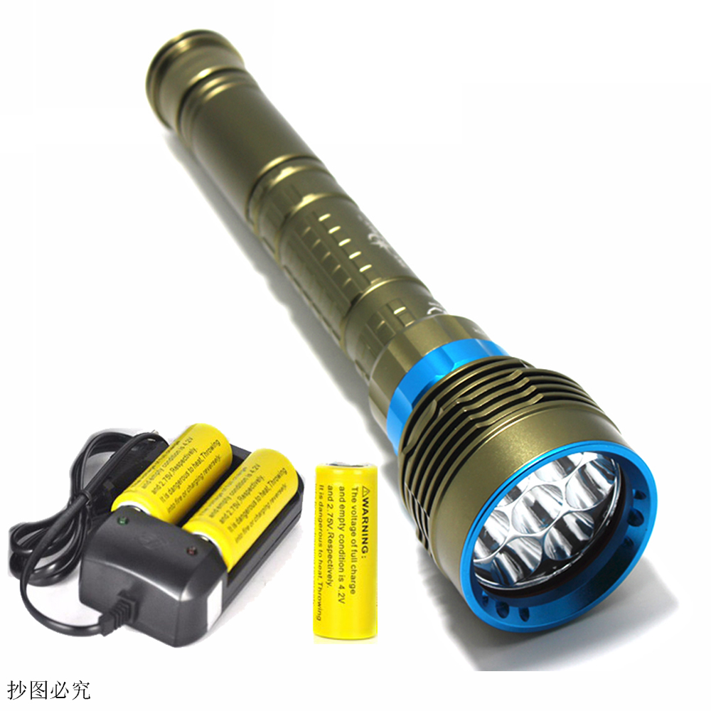 New Waterproof 7*XM-L2 14000LM LED Diving Flashlight Underwater Lamp Torch 150m Scuba Diver Lanterna Power By 18650 26650 newest underwater scuba diving light 14000 lumen led torch cree 7 x xm l2 waterproof flashlight light for dive 26650 lanterna