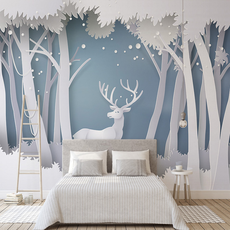 Custom Photo Wallpaper 3D Solid Forest Modern Simple Elk Mural Wallpaper Living Room TV Background Modern Seamless Wall Covering