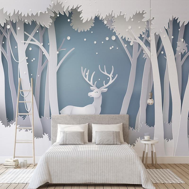 Custom Photo Wallpaper 3D Solid Forest Modern Simple Elk Mural Wallpaper Living Room TV Background Modern Seamless Wall Covering