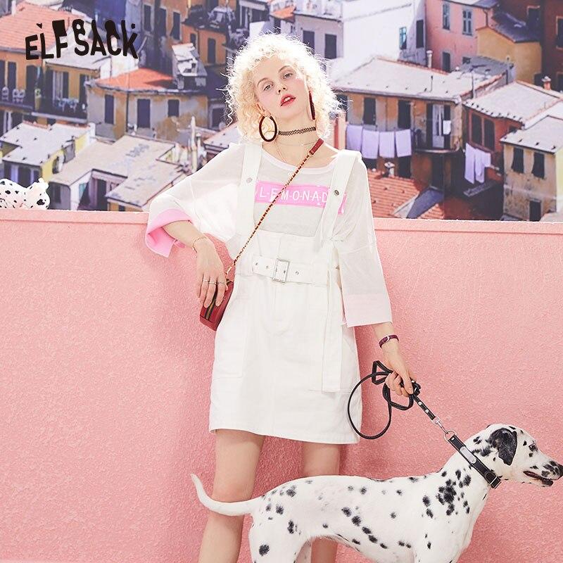 ELF SACK Fashion Solid Cotton Basis Women Dresses Vintage Sashes A Line Femme Dress 2019 Summer