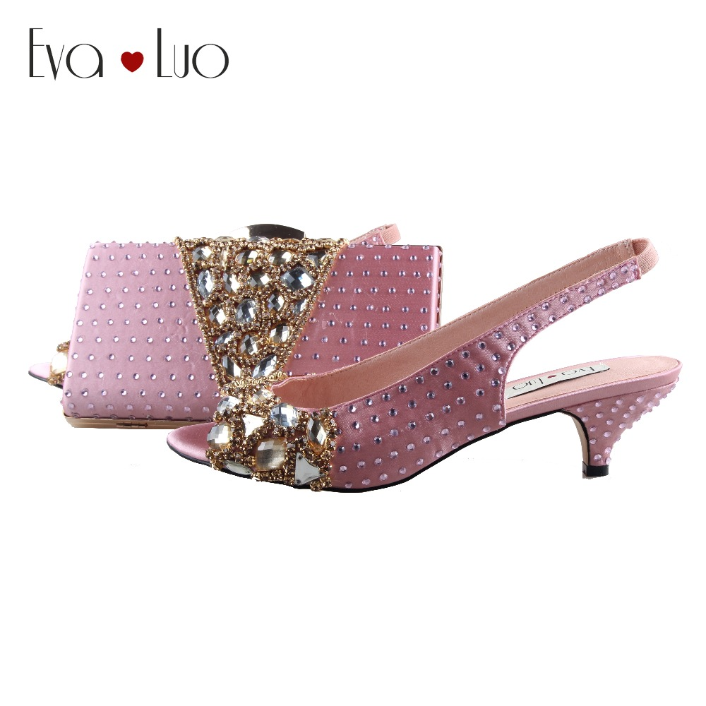 BS1011 Custom Made Rose Pink Crystal Shoes With Matching Bag Slingbacks Low Heel Women Shoes Dress