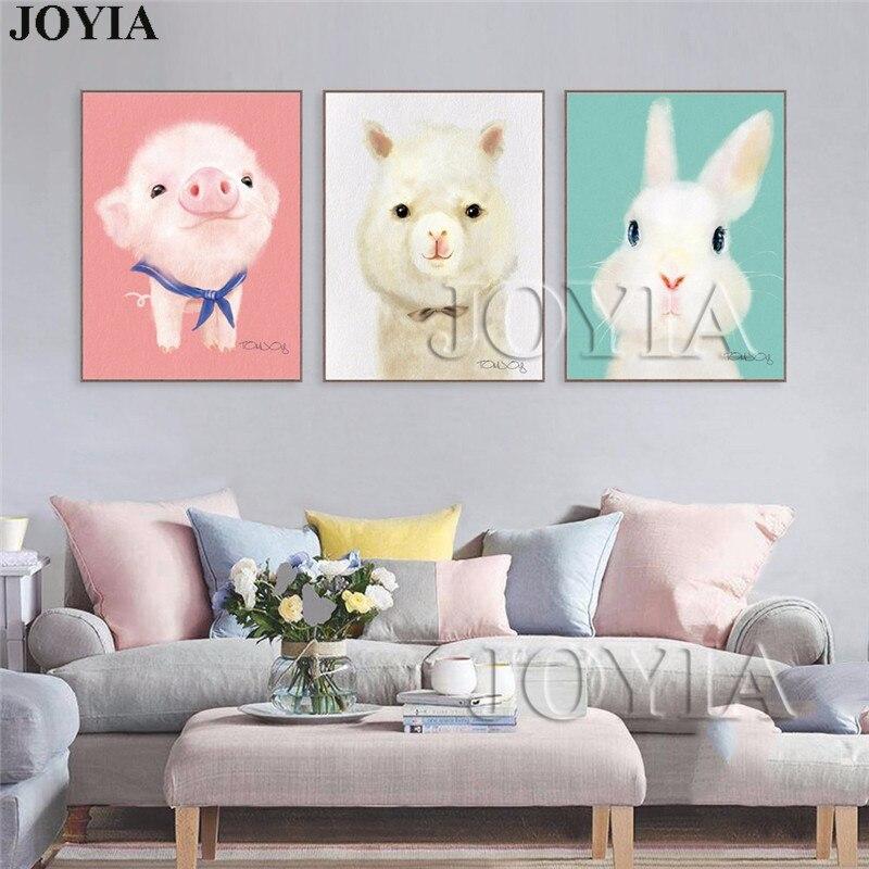 3 Piece Lovely Animal Canvas Art Prints Cute Rabbit Pig