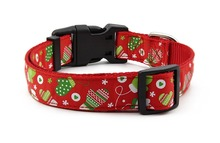Nylon Dog Collar Adjustable,Christmas/Winter/Snow Theme,Quick Release Puppy Collar for Small Medium Large Dogs Walking Training