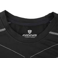 FANNAI Men's T-shirt Gym Fitness shirts Slim Tops Tees compression tights shirt High Elastic Running short sleeve Quick Dry MMA 3