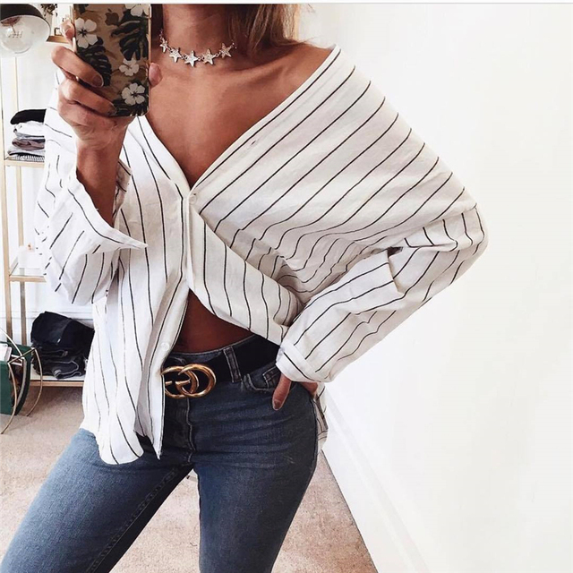 05fc76b8197 Women Sexy Crop Tops Blouse 2017 Fashion Summer Striped Loose Shirt Off  Shoulder Casual Blouse Blusas