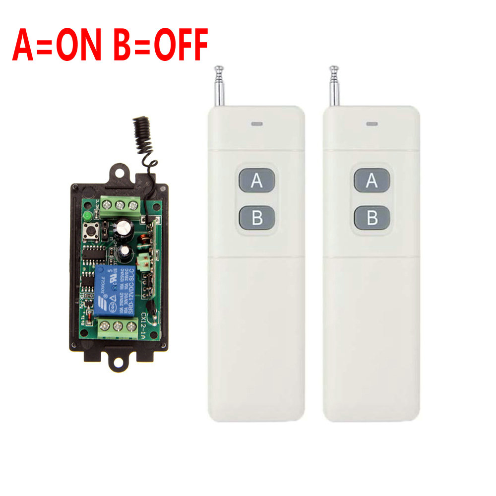 3000m DC 9V 12V 24V 1 CH 1CH RF Wireless Remote Control Switch System,315/433 MHZ 2X Transmitter + Receiver,Latched (A=ON B=OFF) 3000m ac 220v 110v 1 ch 1ch rf wireless remote control switch system 315 433 92 3x transmitter receiver latched a on b off