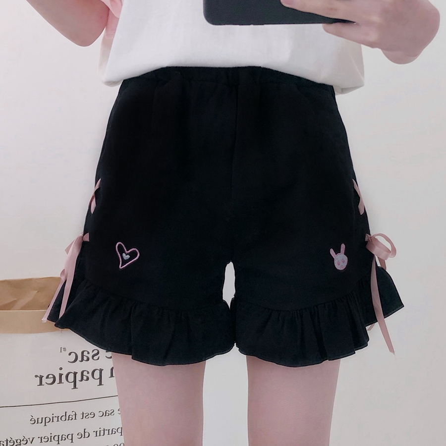 Japanese Cute Rabbit Love Embroidery High Waist Ruffles Trim Side Lace-up Bow Shorts Girl Casual Women Black Loose Female Shorts