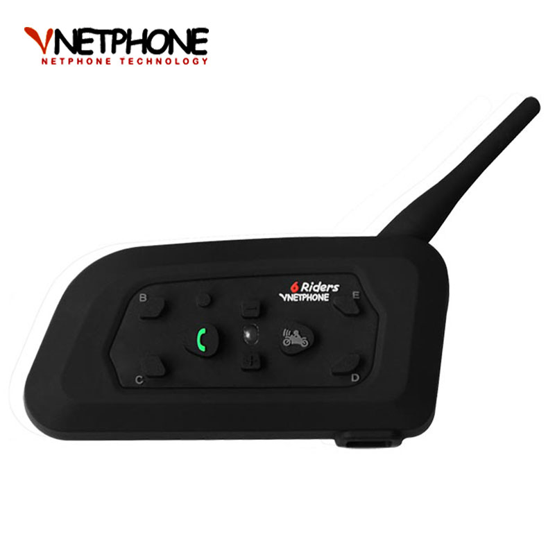 V6 Bluetooth Motorcycle Helmet Speaker 1200m 6 Riders Interphone Headset,  Wireless Mp3 Music GPS