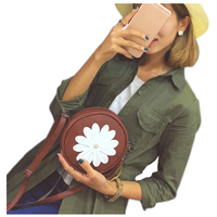5 Pcs Of 1 Wine Red PU Leather Female Models Retro Fashion Flowers Tassel Small Round
