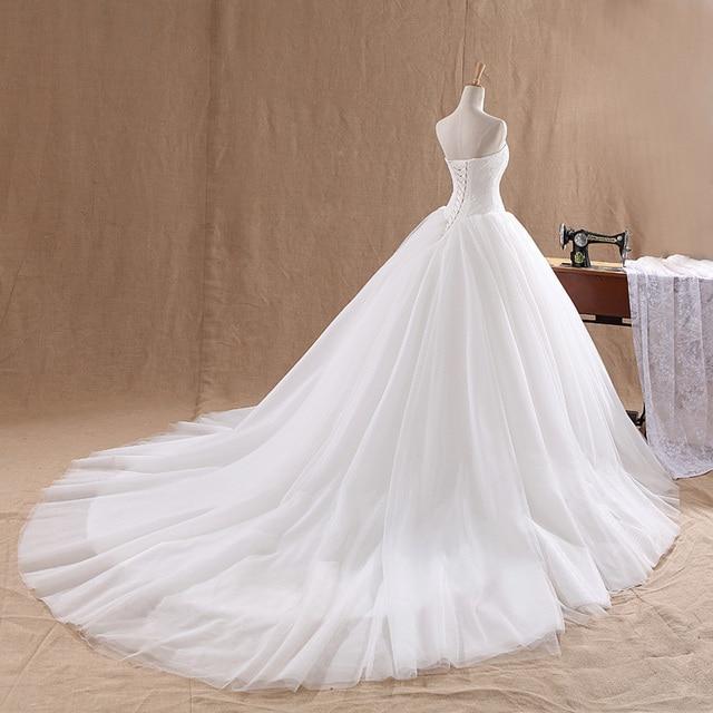 LAMYA Court Train Wedding Dress 2021 Cheap Celebrity Strapless Vintage Tulle Bridal Ball Gown Organza Lace bridal dresses 2
