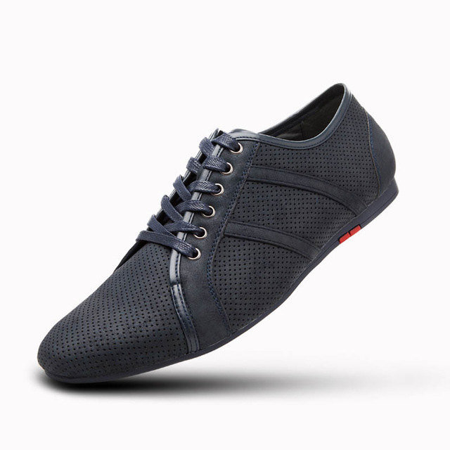 ФОТО Plus Size 45 46 Lace Up Flats Men Casual Shoes 2017 Breathable Mesh Walking Shoes New Brand Working Shoes Man Black Blue T031602