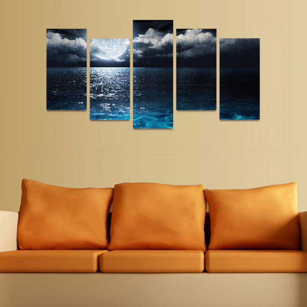 5 Panels Canvas Print Big Moon On The Ocean Painting for Living Room ...