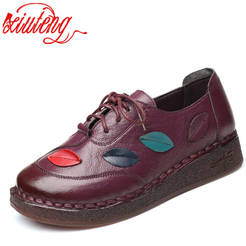 Xiuteng 2018 New Style Folk Style Round Top Mother Boat Shoes Hand-Sewed Genuine Leather Leisure Shoes Soft Bottom Flat Shoes