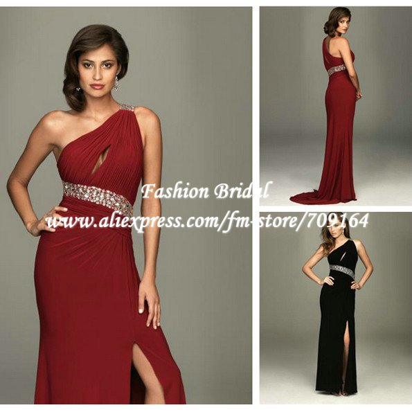 733cb913f98bc US $135.0  Fashionable Crystal Beaded One Shoulder Ruched Dark Red Prom  Dresses Gown FO05-in Prom Dresses from Weddings & Events on Aliexpress.com    ...