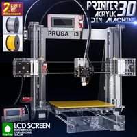 2014 Hot Full Acrylic Quality High Precision Reprap Prusa I3 LCD Acquired DIY 3d Printer Kit