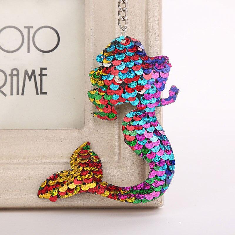 Mermaid Star Unicorn Cat Keychain Glitter Pompom Sequins Key Chain Gifts for Women Llaveros Mujer Car Bag Accessories Key Ring все цены