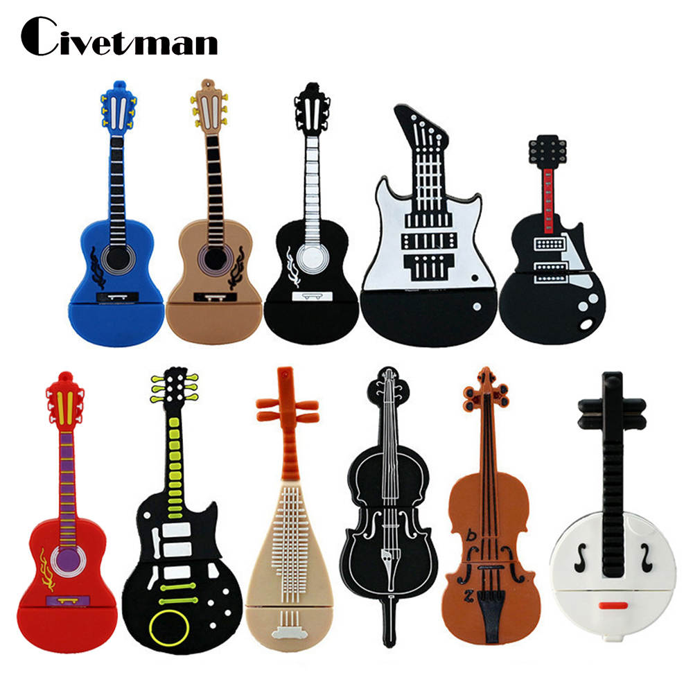 Ny Pen Drive 8 GB 16 GB 32 GB 64 GB USB-minnepinne Söt Instrument Gitarr Violin Modell USB 2.0 Flash Memory Stick Pendrive Presenter